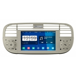 Fiat 500 Autoradio op basis van Android navigatie full europa incl. HD scherm (wit)